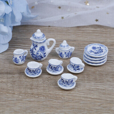 15Pcs 1:12 Dollhouse miniature blue flower tableware porcelain coffee tea RKBB