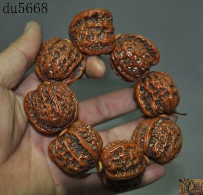 "5"" Antique China Chinese natural Walnut Hand carved Bracelet Bracelets Hand ring"