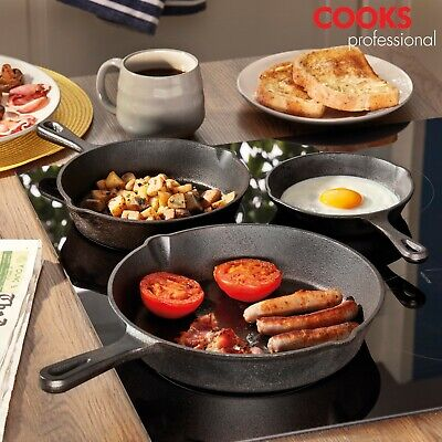 Cooks Professional 3pc Pre Seasoned Cast Iron Skillet Pans Set Frying Saucepans