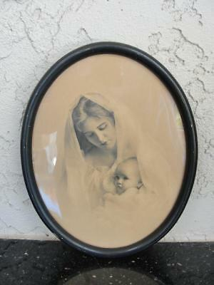 Antique/Vintage Oval Dark Wood Framed Classic Mother w/Child Photo Print