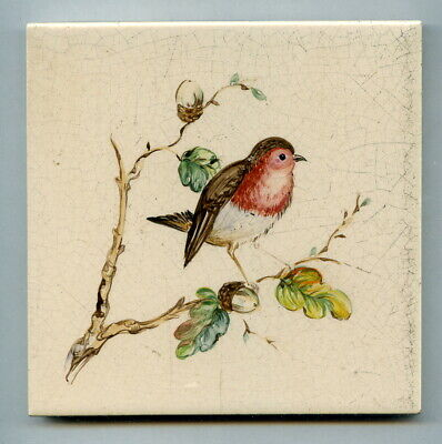 """Handpainted 4""""sq tile from the """"Small Song Birds"""" series by Packard & Ord, 1952"""