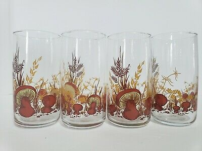 Retro Glasses VTG Mushroom Tumblers Anchor Hocking Orange Rust Brown Beige 4 set