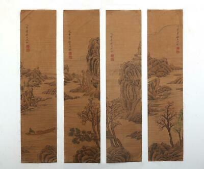 Very Rare Old Four Chinese Hand Painting Scroll Shen Quan Marked (704)