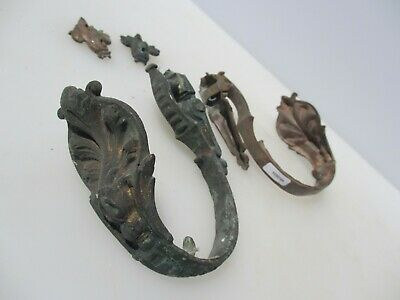 Antique Brass Curtain Tie Backs Hooks French Rococo Baroque Old Georgian Leaf