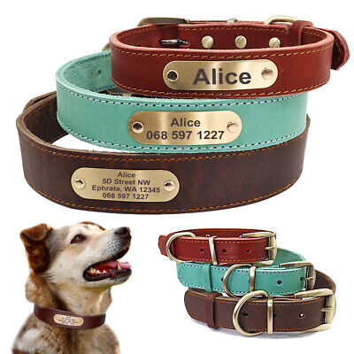 Real Leather Personalized Dog Collar Pet Puppy ID Name Tag Collars Free Engrave
