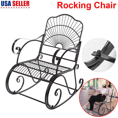 Admirable Wide Rocking Chair Wrought Iron Porch Patio Deck Seat Gamerscity Chair Design For Home Gamerscityorg