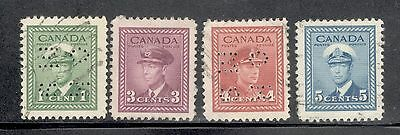 CANADA 1942-43 SC. # 249,251,255King George VI War Issue MOGH+1Used CV. VF.