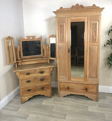 Antique Pine Wardrobe And Pine Dressing Chest With Triple Mirrors- Project A27