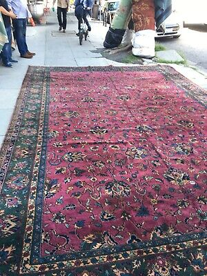 Antique Turkish Rug Handknotted Wool 11' X 16'