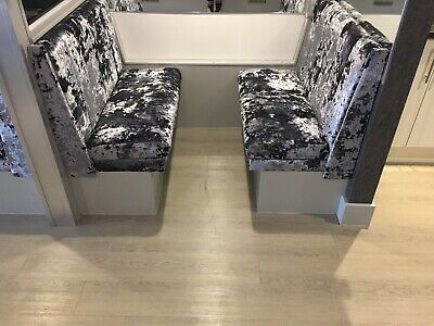 Booth Bench Seating Restaurant Bar Chairs Grey Velour Crushed Velvet