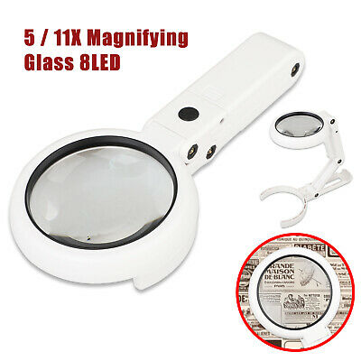 Magnifying Crafts Glass Desk Lamp With 5/11X Magnifier With 8LED Light Dimmable