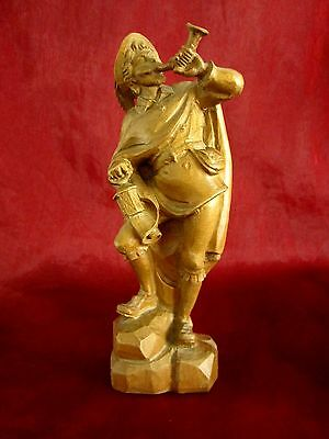 Old Wooden Figure Solid Wood the Night Watchman Hand-Carved 20 cm Senoner
