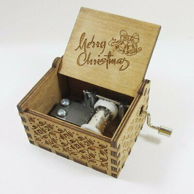 Engraved Wooden Retro Merry Christmas Hand Crank Mechanical Music Box Xmas Gift