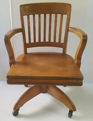 Antique Gunlocke Swivel Bankers Arm Chair-1948