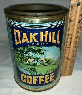 Antique Oak Hill Coffee Tin Litho 1Lb Tall Can Brockton Ma Vintage Grocery Store