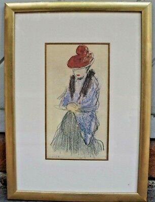 """Very Rare Framed Sketch Print of """"Women with Fur Stole"""" by Pablo Picasso - COA"""