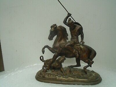 Quality antique bronzed spelter statue depicting Victorian tiger hunt  WOW LOOK