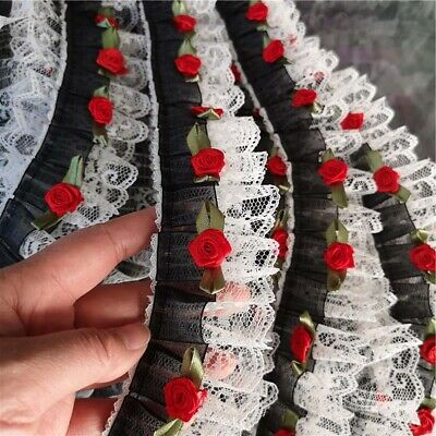 1 Yard Black White Rose Embellishment Embroidery Lace Trims Sewing Apparel Craft