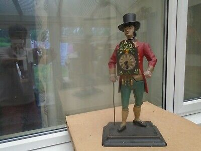 RARE vintage/antique painted metal clock figure with top hat & walking cane LOOK