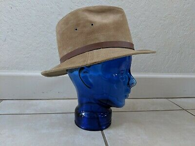 VTG New York Hat Co. Brown SUEDE Cap Fedora LEATHER