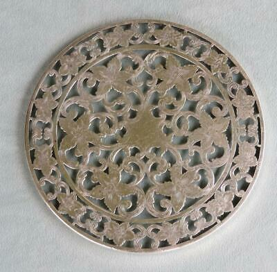 "Webster Sterling Silver Overlay Glass 6"" Trivet"