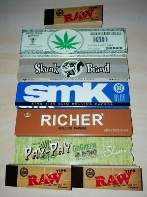 5 x King Size Mixed Rolling Papers & 3 x RAW Original Roach Card Books!!