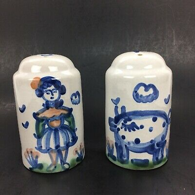M.A. Hadley Country Salt & Pepper Shakers w/ Cork Stoppers Farm Lady Woman & Pig