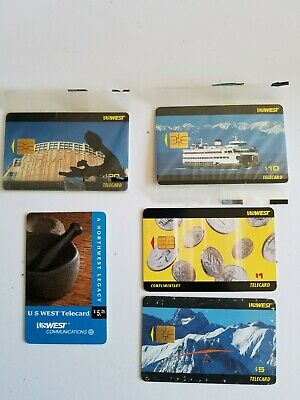 Five USWest Telecard Phone Cards 1994-1995 Expired Used/Unused