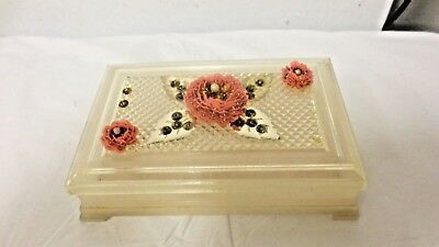 Older Fosta USA Patent Pend mkd Plastic Vanity Dresser box-Footed-applied Floral