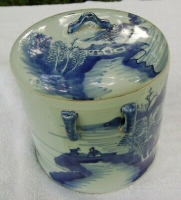 Vintage Chinese Blue & White Porcelaine Tea Caddy, Canister, Covered Jar