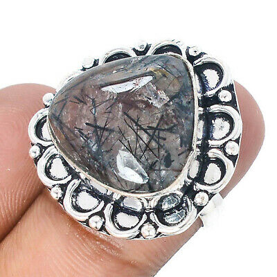 Black Needle Rutile Gems 925 Sterling Silver Jewelry Ring Size 6.5 8249