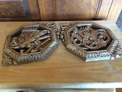 Vintage Mid Century Modern Pair Musical Wall Art Plaques