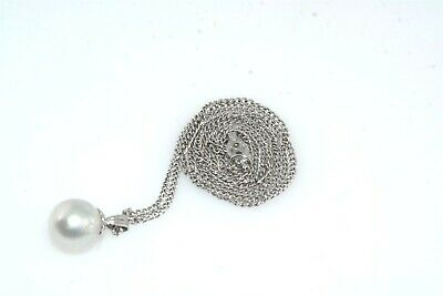 Large 8mm Japanese Cultured Pearl Sterling Silver Pendant Necklace
