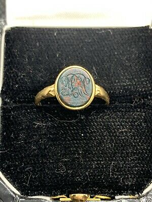 Antique Late Georgian / Early Victorian 18ct Intaglio Bloodstone Signet Ring
