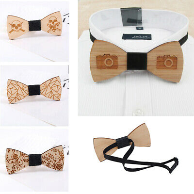 Fashion Mens Wooden Bow Tie Accessory Wedding Gifts Bamboo Wood Bowtie For Men