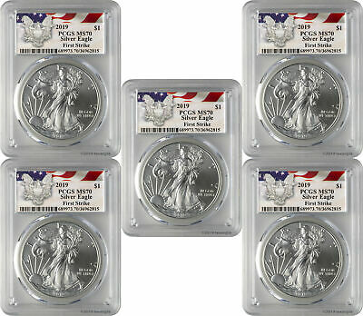 2019 $1 American Silver Eagle PCGS MS70 First Strike - Eagle Label Lot of 5