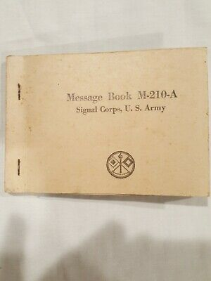 WWII US Army M-210-A Cipher Message Book Signal Corps Enigma Military NOS Unused