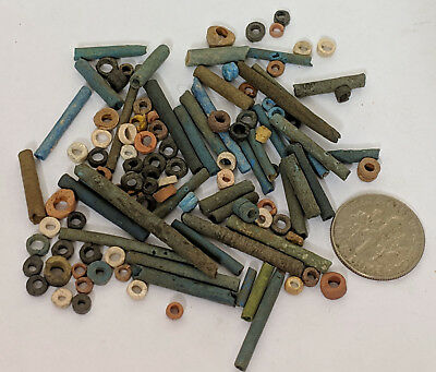 More than a Hundred 2500 Year old Ancient Egyptian Faience Mummy Beads (K4561)