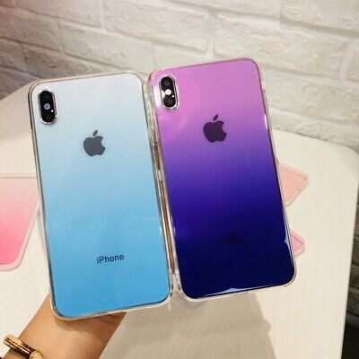 For iPhone Xs Max XR X 8 7 Plus Gradient Color Plating Tempered Glass Case Cover