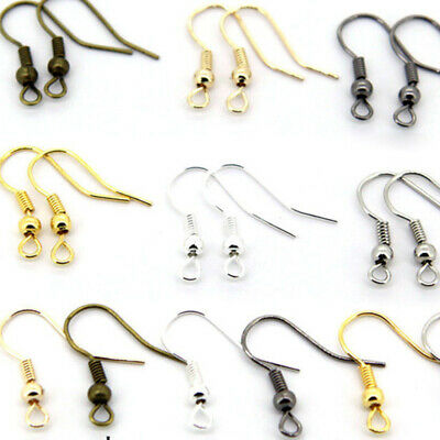 100PCS DIY Jewelry Making Findings Earring Hook Coil Ear Wire Gold Sliver AU