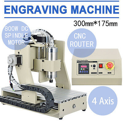 USB 4Axis 3020T CNC Router Engraver 800W VFD Engraving Drill/Mill Carving Tool