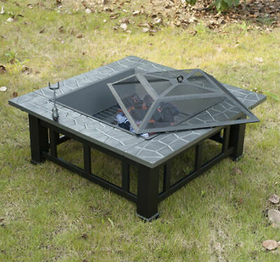 """32"""" Square Outdoor Patio Fire Pit Backyard Deck Steel Heater Fireplace w/ Cover"""