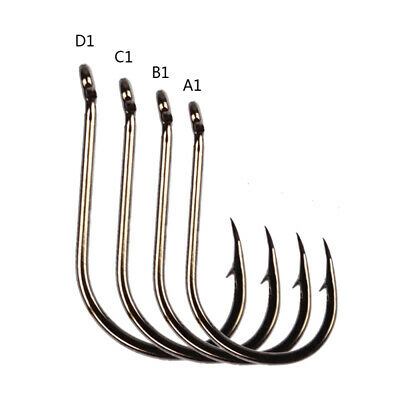 200pcs Offset Sport Circle Fishing Hook Black High Carbon Steel Fish Hook UOT