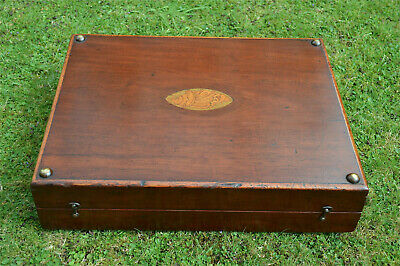 Victorian inlaid mahogany backgammon games box with pieces circa.1880