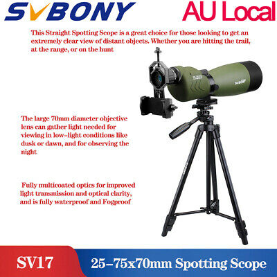 SV17 25-75x70mm FMC Straight Spotting Scope Waterproof+Adapter+SV102 Tripod  AU