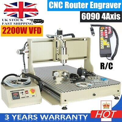 4 Axis 6090 USB CNC Router Engraver Metal Engraving Milling Machine 2200W VFD&RC