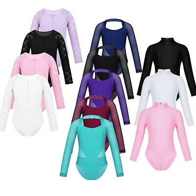 Girls Kids Dance Gymnastic Leotard Long Sleeve Turtle Neck Top Bodysuit Costume