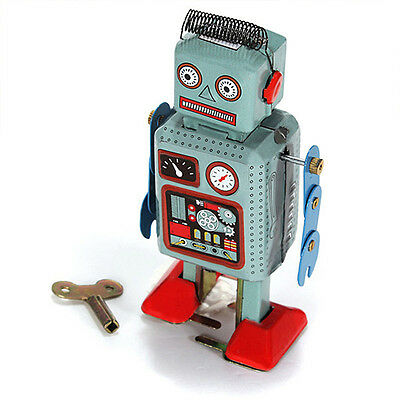 Vintage Mechanical Clockwork Wind Up Metal Walking Radar Robot Tin Toy Kids STCP
