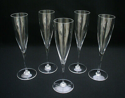 """(5) Baccarat Crystal - 9 1/4"""" Dom Perignon Champagne Flutes - Signed - Excellent"""