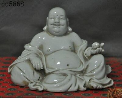 Old China temple Dehua White porcelain glaze Happy laugh Maitreya Buddha statue